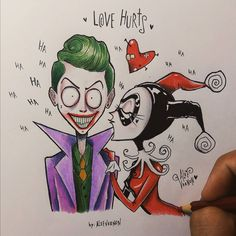 The Joker and Harley Quinn - Tim Burton Style Tim Burton Drawings Style, Tim Burton Art Style, Tim Burton Stil, Tim Burton Kunst, Tim Burton Artwork, Joker Drawings, Easy Drawings, Joker Drawing Easy, Cartoon Kunst