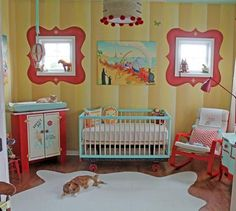 Life is a carnival of baby animals in this cute gender #neutral #baby #nursery room that has so many DIY crafts projects and murals.
