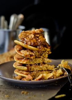 Granola cookie crumbled pancakes with runny date blueberry syrup