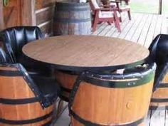 Just bought this at an estate sale!  SO excited!! going to mosaic the table and refinish the vinyl with cow hide.... and distress the barrels