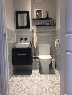 The Finished Result! Downstairs Loo, Vanity, Flooring, Bathroom Ideas, Houses, Decorating, Toilettes Deco, Dressing Tables, Homes