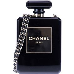 Pre-owned Chanel Black Lucite Perfume Bottle Bag found on Polyvore featuring bags, handbags, crossbody shoulder bags, shoulder handbags, chanel purses, chanel handbags and chanel