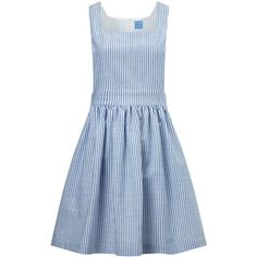 MacGraw Blue Cotton Striped Apron Dress ($120) ❤ liked on Polyvore featuring dresses, square neck dress, blue ruched dress, blue sleeveless dress, striped dresses and blue dress