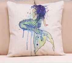 Mermaid pillow Linen cover 17 x 17.  Zippered by DesignsbyTerriLee