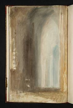 transistoradio:  Joseph Mallord William Turner (1775-1851), Interior of an Italian Church (1819), pencil and watercolour on white wove paper, 25.5 x 40.3 cm. Via Tate.