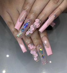 Acrylic Nails Coffin Pink, Short Square Acrylic Nails, Bling Nail Art, Bling Nails, Nail Swag, Champagne Nails, Queen Nails, Acylic Nails, Nail Designer