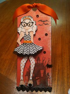 Halloween tag I made using Prima Doll Stamp Olive