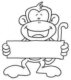 monkey holding sign Riebold-Upchurch (Lately finding lots of monkey… Colouring Pages, Coloring Books, Monkey Template, Monkey Crafts, Barrel Of Monkeys, Safari Theme, Silhouette Cameo Projects, Digi Stamps, Copics