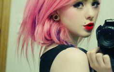 cool, girl, piercing, pink hair, red lips