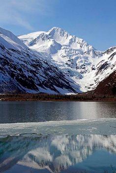 Portage Lake at the foot of Portage Glacier, Alaska.