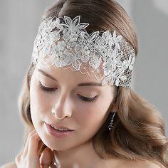 Spitzen-Haarband mit Perlen & Strass