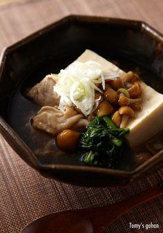 """Traditional Japanese """"Tofu Ankake"""", with Chicken Breast, Nameko Mushroom, Spinach, Negi Onion. Winter Comfort Dish"""