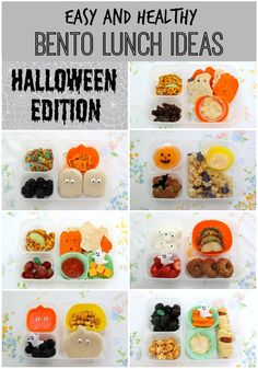 Easy and Healthy Bento Lunch Ideas: Halloween Edition! - Smashed Peas & Carrots Easy and Healthy Halloween Bento Lunch Ideas! Fun Packed Lunch Ideas, Bento Box Lunch For Kids, Healthy Lunches For Kids, Toddler Lunches, Lunch Snacks, Kids Meals, Lunch Box, Lunch Time, Snacks Kids