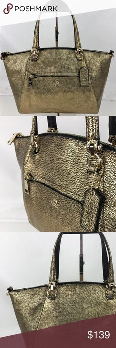 """Coach Prairie Satchel in Gold Fog Pebble Leather Condition: New, with Tag, Care Card and optional cross-body strap.  Crafted in soft, lightweight pebbled leather with a bit of sheen, this simple, gracefully curved shape distills the satchel to its purest form. Top Zip with fabric liner. Handles 5"""" drop. Strap drop 21"""". 13 1/2"""" (L) x 8 3/4"""" (H) x 3 3/4"""" (W). Style 34340. Our bag # RB8040.  Thank you for your interest!  PLEASE - NO TRADES / NO LOW BALL OFFERS / NO OFFERS IN COMMENTS - USE THE…"""