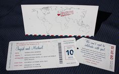 Blue & Red Vintage Air Mail & World Map Airline Ticket Wedding Invitations