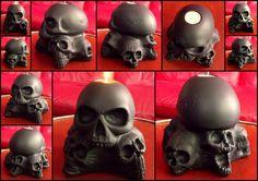 LARGE SKULL CANDLE HOLDER Skull Candle, Skull Artwork, Dark Gothic, Hand Carved, Candle Holders, Clock, Carving, Candles, Sculpture