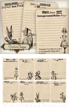 Printable Alice in Wonderland Journaling Cards by VectoriaDesigns on DeviantArt