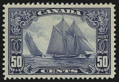 Aaccording to the Canadian, this is one of world's most beautiful stamp. Stamp name: Bluenose (fishing boat) Color: blue Country: Canada Year: 1929 Facial Value: 50 cents Text in French and English: Postes / Post Bluenose stamp - Canada - 1929 -. Rare Stamps, Old Stamps, Vintage Stamps, Vintage Ads, Timbre Canada, Newfoundland, Mail Art, Stamp Collecting, Pin Up