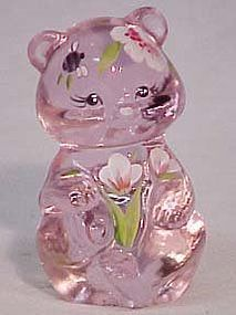 Fenton Pink Hand-painted Miniature Bear