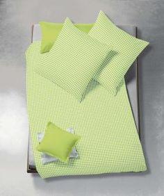 Bügelfreie und pflegeleichte Seersucker Bettwäsche in Grün-Weiß mit Reißverschluss. Atmungsaktiv für frische Sommernächte.
