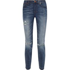 Madewell The High Riser distressed skinny jeans ($130) ❤ liked on Polyvore
