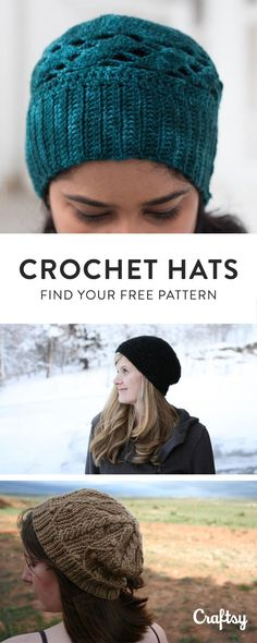 Our favorite crochet hat patterns to keep you cozy this Fall. Create a Craftsy account for free access! Crochet Scarves, Crochet Yarn, Easy Crochet, Crochet Clothes, Hat Patterns, Knitting Patterns, Crochet Patterns, Yarn Crafts, Sewing Crafts