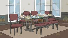 messy dining gray grey brown walls floor tone dark backgrounds carpet chairs glass furniture clipart
