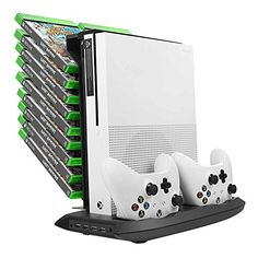 Younik-XB-02-Xbox-One-S-Vertical-Stand-Cooling-Fan-Dual-Controllers-Charging-Station-18-Slots-Game-Storage-and-4-Ports-USB-Hub-The-4-in-1-Cooler-for-your-XBOX-ONE-S
