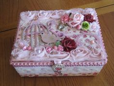 ALTERED CIGAR BOX PINK WITH BIRD CAGE DIE