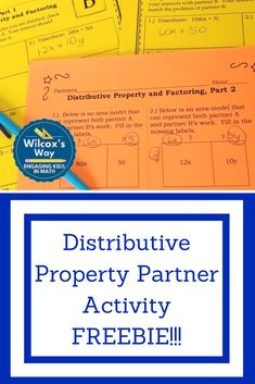 Self checking partner activity gives students a chance to practice distributive property and factoring. Also connects to the area model. Games For Kids Classroom, Fun Math Games, Math Activities, Math Classroom, Teaching Tips, Teaching Math, Math Teacher, Teacher Stuff, Math Properties