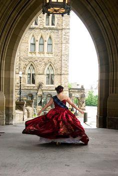 "Wonderful photo of bride in colored gown and tartan - ""Scottish tartan & Balloon Animal"" Wedding. Taken in Edinburgh."