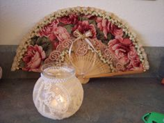 Shabby Victorian Chic**Altered Candle Jar and Fan - Scrapbook.com