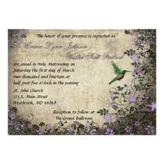 Hummingbird Vintage Wedding Invitation  Click on photo to purchase. Check out all current coupon offers and save! http://www.zazzle.com/coupons?rf=238785193994622463&tc=pin