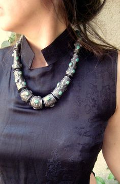 Antique Stunning Tibetan Necklace. Old Tibetan Jewelry. Silver & Turquoise Necklace