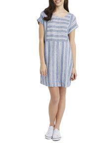 Zest Linen Chambray Stripe Dress, Blue & White product photo Stripe Dress, Women's Fashion Dresses, Dress For You, Chambray, Dresses Online, Blue And White, Womens Fashion, Shopping, Ladies Fashion Dresses