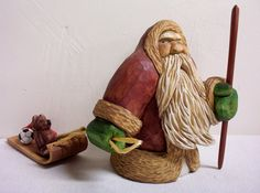 Santa Claus wood carving OOAK Christmas holiday collectible figurine antique maroon coat hand made in Wisconsin by Old Bear Woodcarving