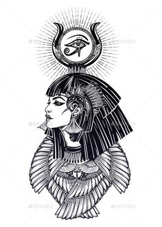 Portrait Of a Beautiful Egyptian Goddess. by itskatjas Portrait of a beautiful egyptian goddess or princess. Cleoptra or Nefertiti with winged necklace and god Ra crown on her head. Egyptian Goddess Tattoo, Egyptian Isis, Isis Goddess, Egyptian Symbols, Egyptian Art, Bastet Goddess, Egyptian Tattoo Sleeve, Kunst Tattoos, Body Art Tattoos