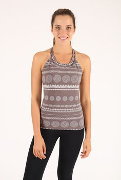 $25 Ananda, twisted back top with bra support - Iron Lace Top USA (6)(8) UK (6)(8) Top Usa, Yoga Wear, Cotton Spandex, Iron, Boutique, Tank Tops, Lace, How To Wear, Women