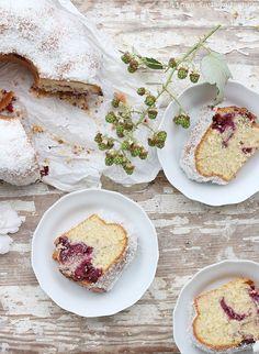 Coconut-Blackberry Marble Cake