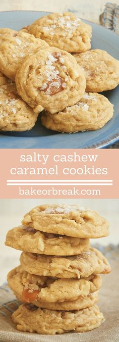 Rich caramel and crunchy cashews add big flavor to these Salty Cashew Caramel Cookies. The sprinkle of salt on top is the perfect finish! | Bake or Break