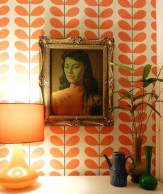 Vintage orange glass teak pendant light lamp by for Reno behang