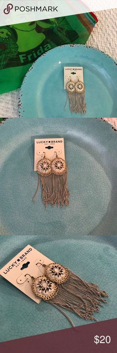 Lucky Brand chain mail fringe earrings NWT These aren't from Mexico but somehow they felt alive under the watchful eye of Frida Kahlo. These Lucky Brand earrings are NWT and have a Mexican silver and chain mail and boho vibe rolled into one terrific earring but it does not feel overdone. It's pretty fun to play with as well - like a Slinky. Made in China. Lucky Brand Jewelry Earrings