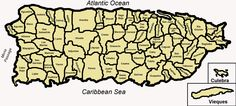 Mapa de Puerto Rico, con sus respectivos municipios divididos. // Map of the 78 municipalities of Puerto Rico ◆Puerto Rico - Wikipedia http://es.wikipedia.org/wiki/Puerto_Rico #Puerto_Rico