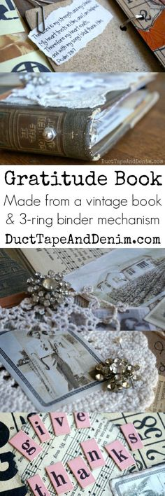 I took an old book from the thrift store & turned it into a gratitude book or thanksgiving journal a few years ago & filled it with things I'm grateful for. Fall Crafts, Crafts To Make, Diy Crafts, Gratitude Book, Gratitude Journals, Card Making Tips, Upcycled Vintage, Repurposed, Ideas