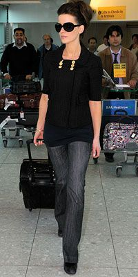 Kate Beckinsale clean and polished in denim and black.