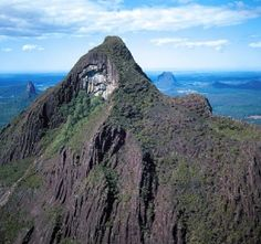 At 556m above sea level, Mount Beerwah is the highest peak of the Glass House Mountains. Photo: Queensland Government.