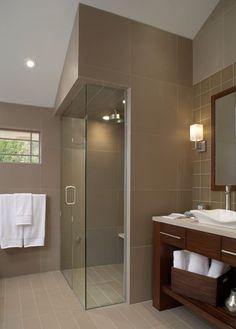#Salle de bain #Bathroom #Douche #Shower #Italienne #Beige #Lavabo #Pierre #Carrelage #Marron #Brown #Blanc #White