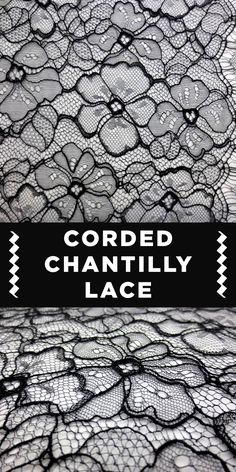 Black Floral Corded Chantilly Lace