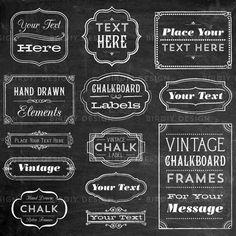 Vintage Chalkboard Frame Labels & Ornaments Clip by birDIYdesign, $6.00