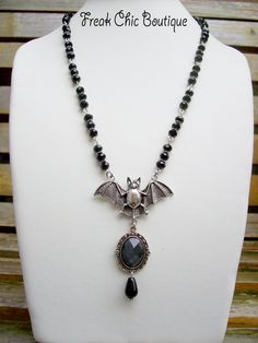 Bat Necklace Gothic Crystal Deathrock Punk by freakchicboutique on Etsy